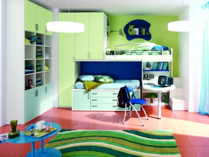 children's high bed cupboard drawers storage ideas