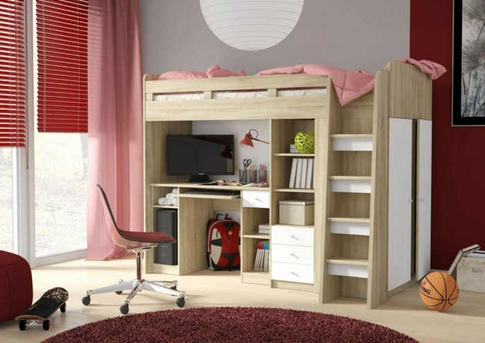 children's high bed cupboard bin living room children's room
