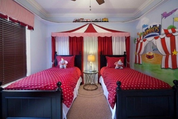children's room 2 beds dot-shaped ceilings