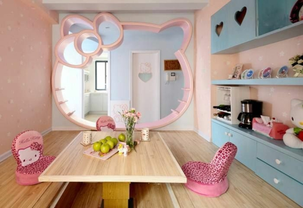 kids room design ideas table chairs mirror