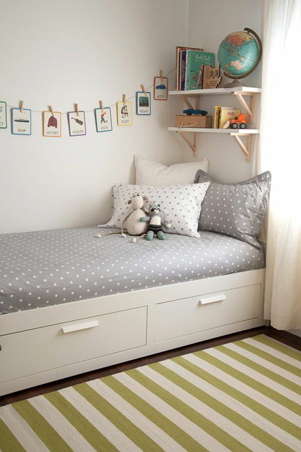 children's room set up bed with bin creative wall design ideas
