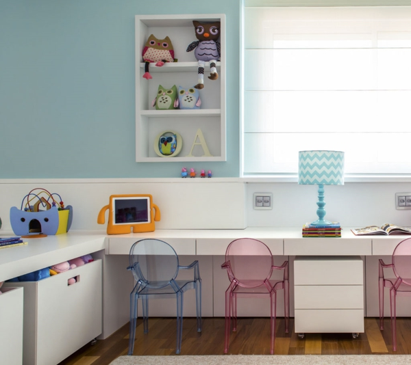 children's room design learning corner acrylic furniture chairs wall shelf wall paint dove blue