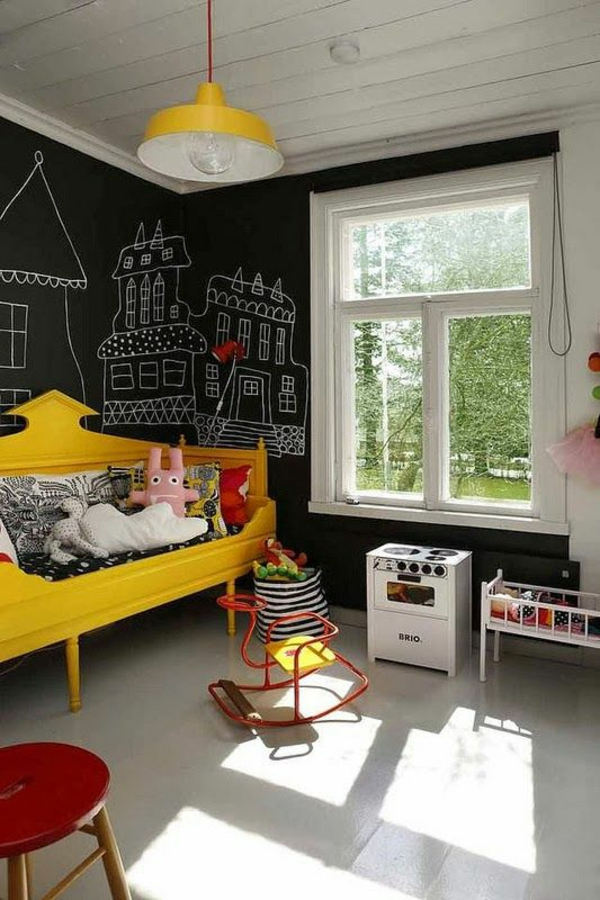 Nursery ideas in eclectic style black wall bed