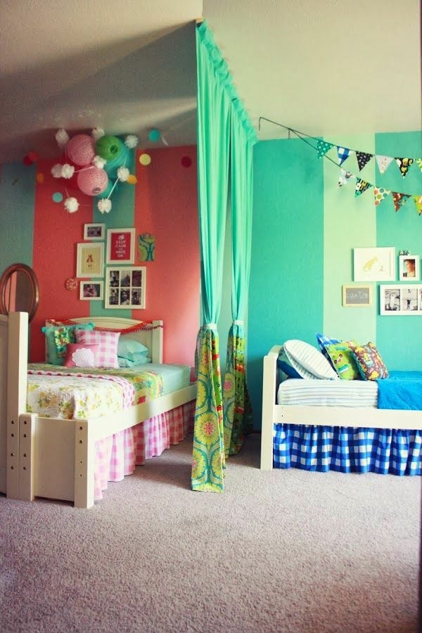 nursery design two beds with curtains