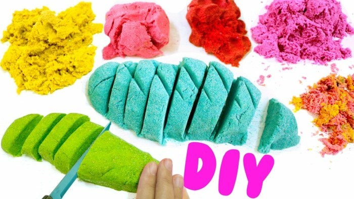 Kinetic sand itself make colorful coloring diy ideas for children