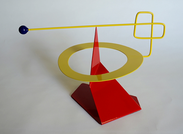 kinetic art installation modern sculptures red yellow