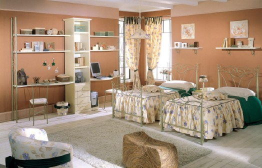 classic nursery furnishings green walls wood single beds