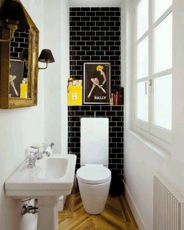small bathroom set sink toilet retro style tile wall decoration
