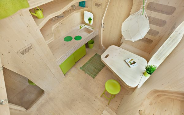 small wooden house student apartment tengbom architect living area