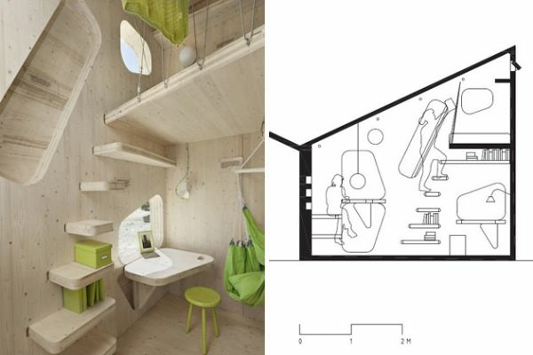 small wooden house student apartment tengbom architect living plan