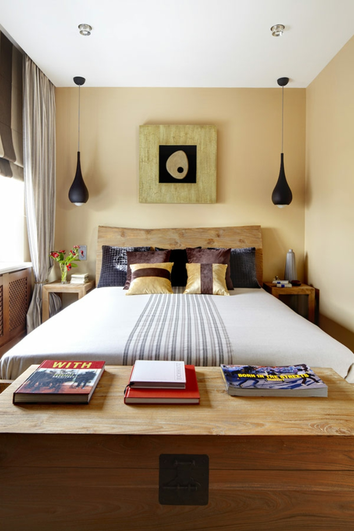 small bedroom set up double bed natural wood headboard organic shapes pendant lights