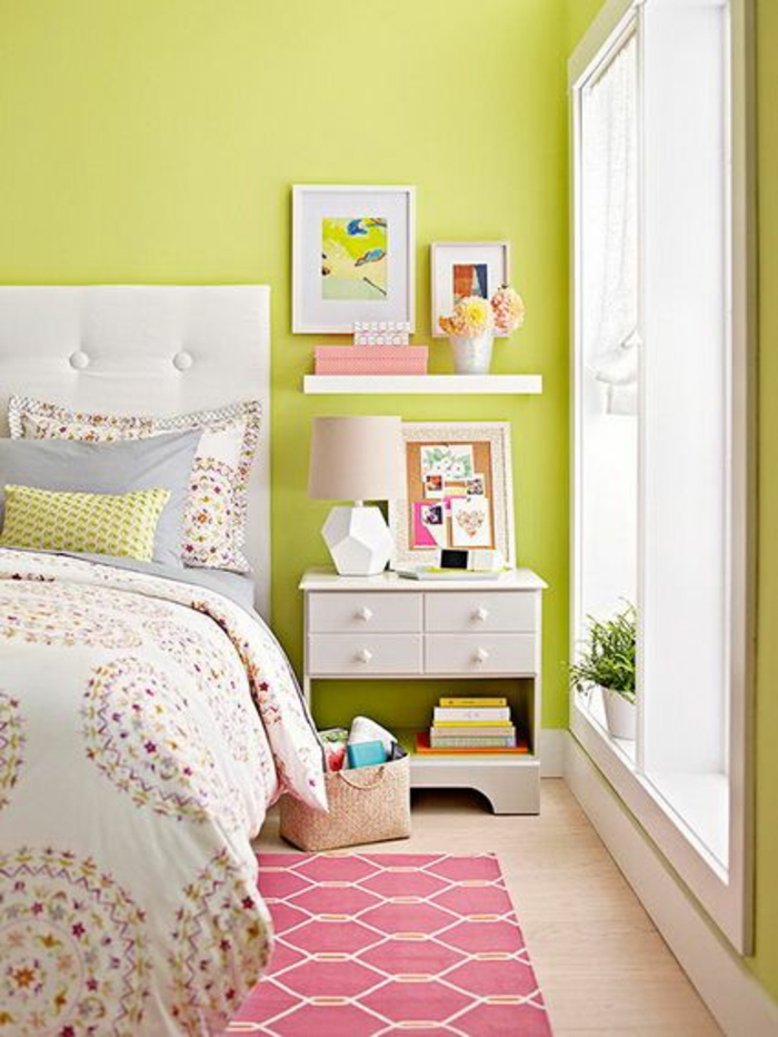 small bedroom set green yellow wall paint nightstand wall shelf