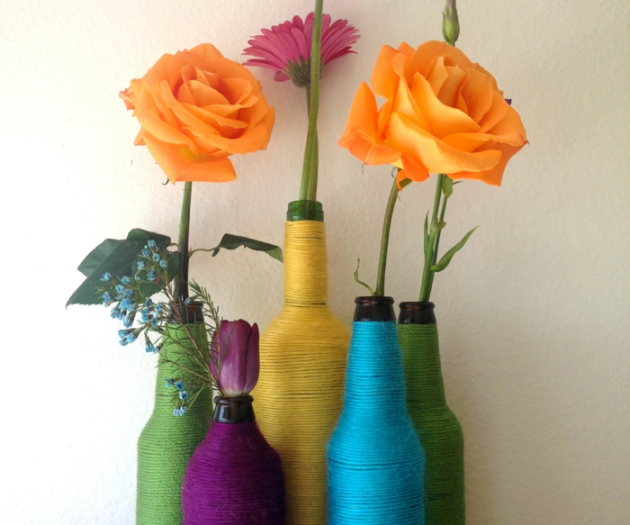 creativas ideas para el hogar botellas hilo de color deco ideas