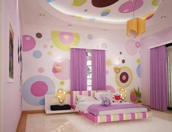 circular wall and cover design girl's room bed