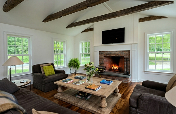 country house furnishing ideas living room fireplace wood table