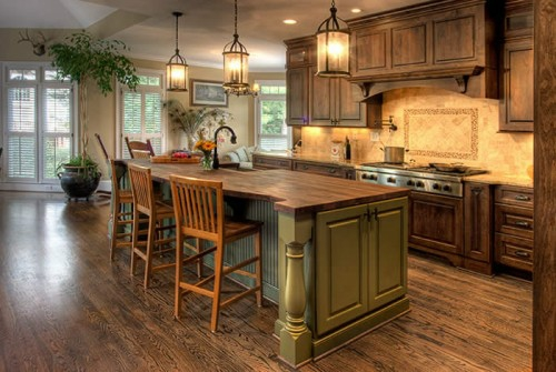 country style france typical wood flooring kitchen island chairs plafanzen shutter