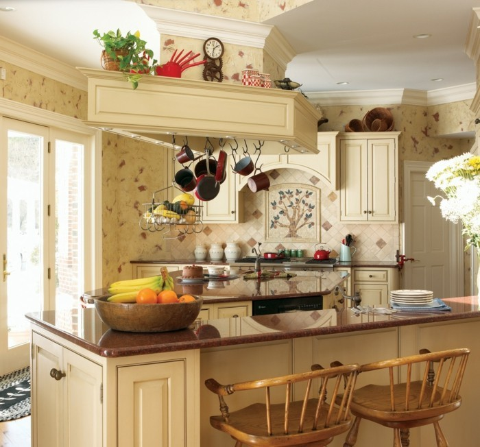 country style kitchen set up lights fruits flowers