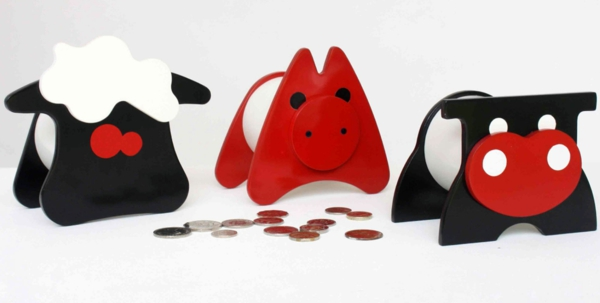 funny money boxes colored animals figures