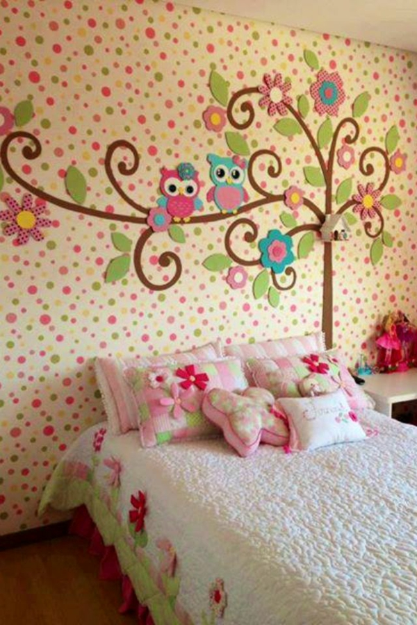girl room design ideas wall deco bed