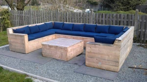 furniture made of pallets comfortable seating corner navy blue