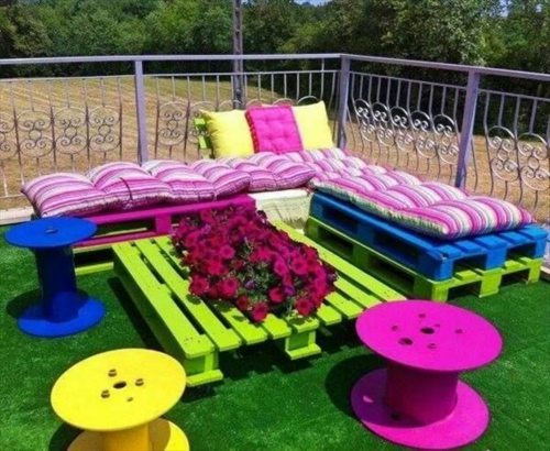 furniture made of pallets colorful couch side table stool