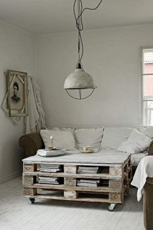 furniture pallets coffee table hanging lamp industiestil