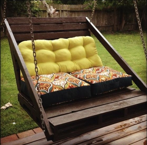 furniture pallets garden swing dark wood