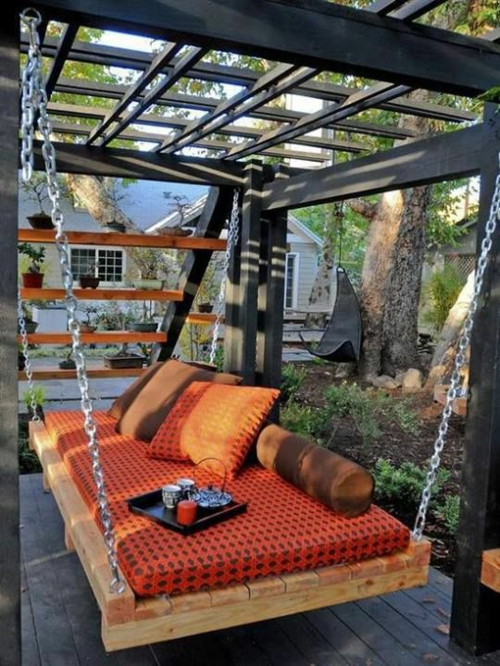 furniture pallets hanging sofa metal chains