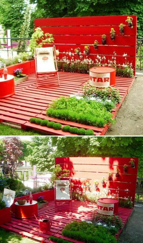 furniture pallets herb garden folding chair red color