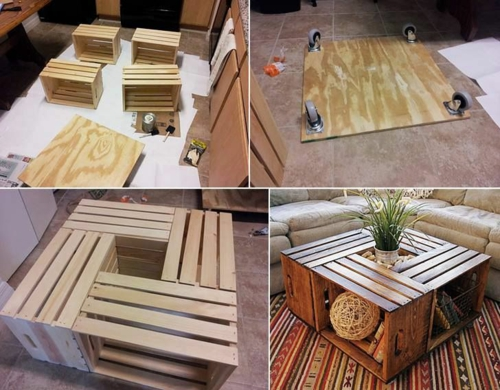 furniture pallets square side table wooden boxes