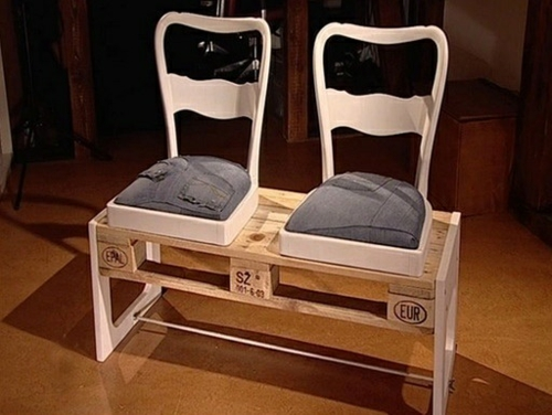 furniture made of pallets bench old chairs