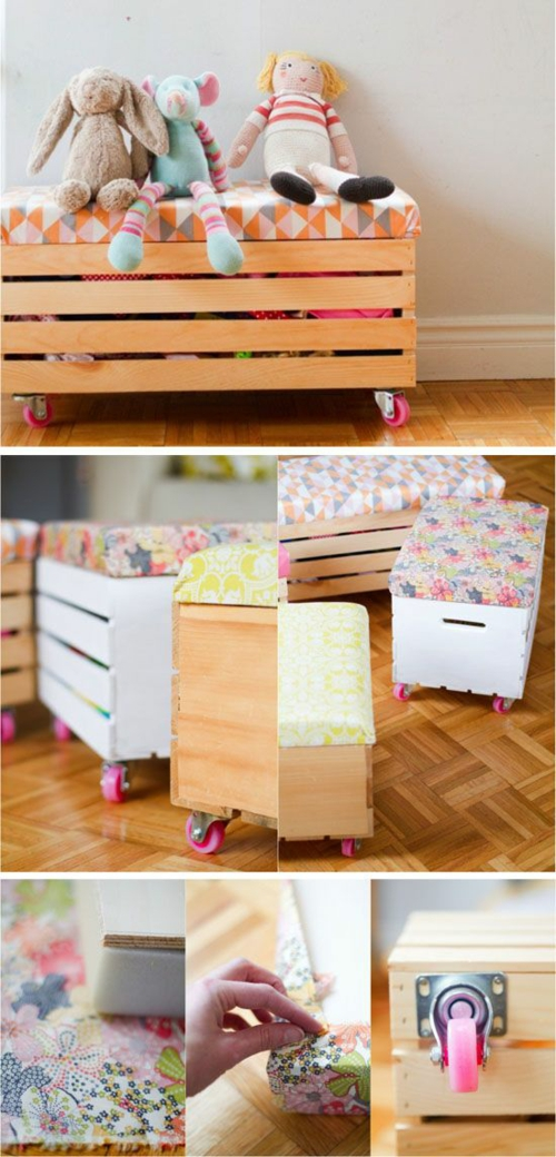 furniture made of pallets toy chest on wheels
