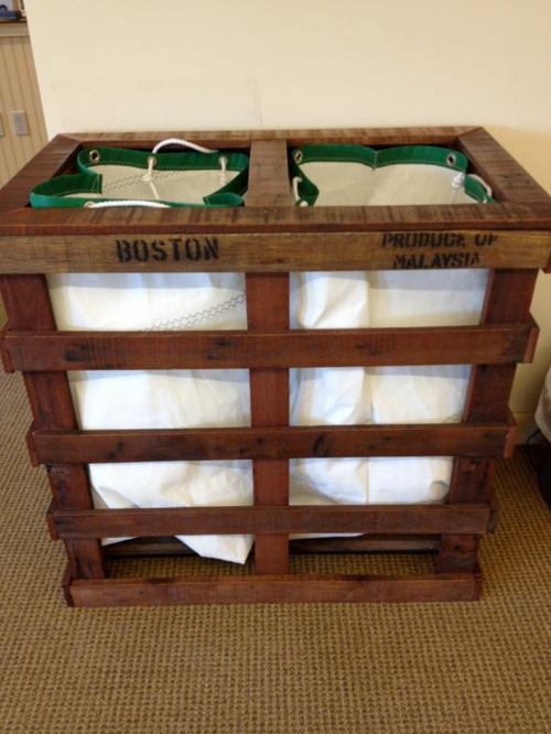 furniture from pallet laundry baskets