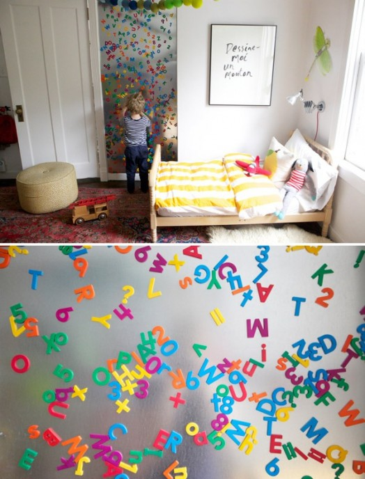magnetic board in the children's room colorful letters