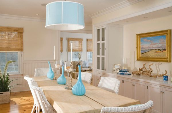 Maritime setting up glass vases and lampshade in turquoise