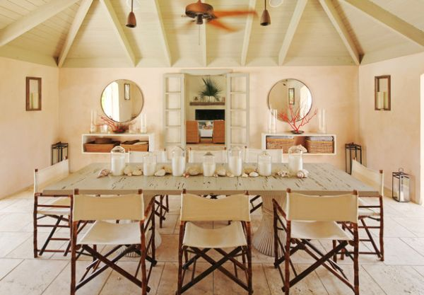 rustic dining table and folding chairs made of wood and linen