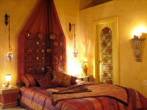 Moroccan bedroom design idea red color original