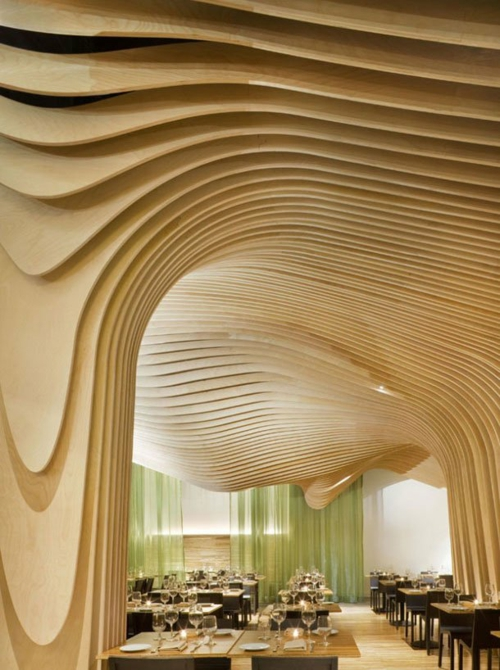 solid light natural wood shapes ceiling paneling idea