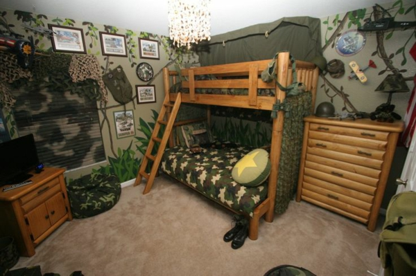 military-inspired boy's room bunk bed