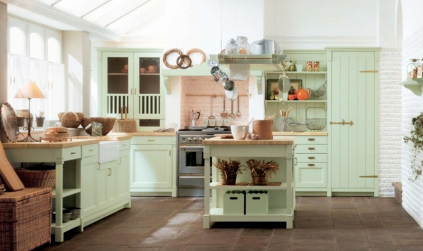 bright green painted kitchen furniture rustic style