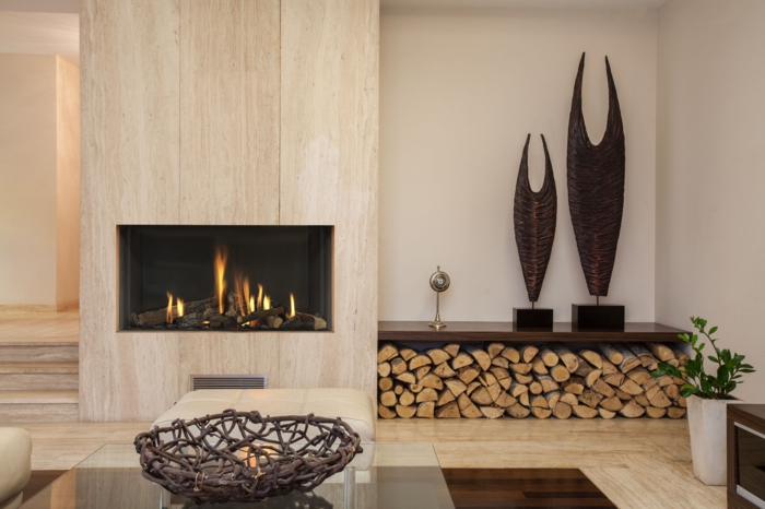 modern fireplaces living area wooden walls accessories