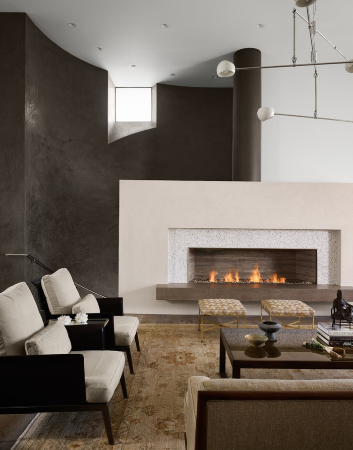 modern fireplaces living room beige stool carpet stylish wall design