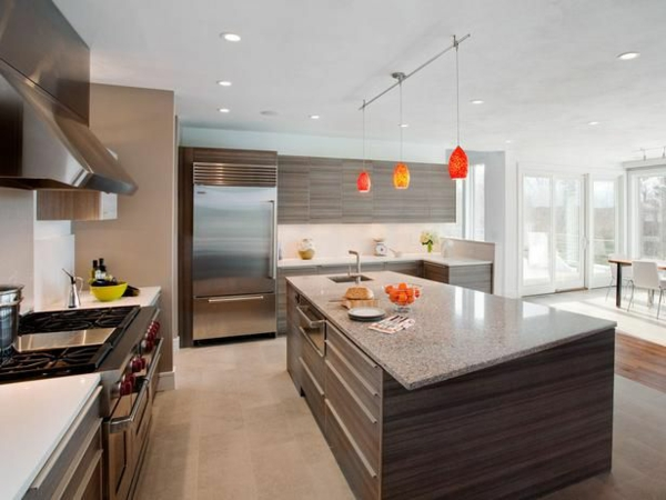 modern kitchen design ideas colored pendant lights
