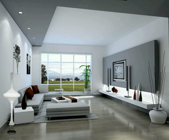 modern living room set up gray accent wall recessed lights