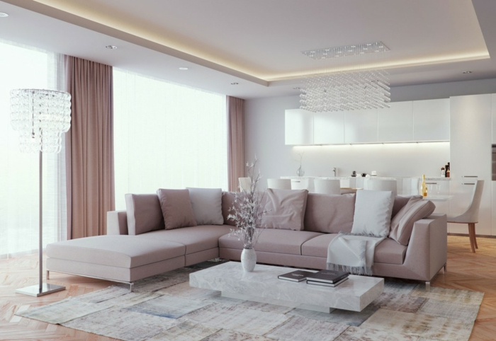 modern living room set up open plan apartment beige sofa beautiful floor lamp