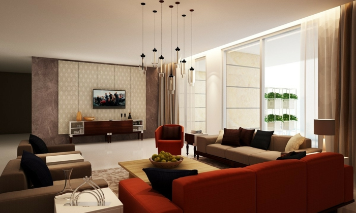 modern living room set up red furniture brown nuances