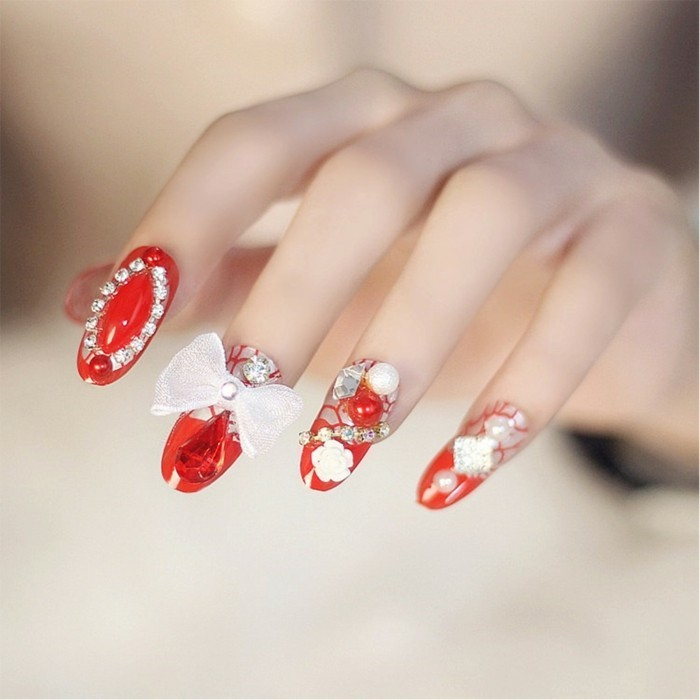 nail design for wedding red white lace rhinestones