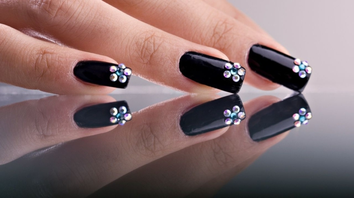 nail design black flower nail polish trends