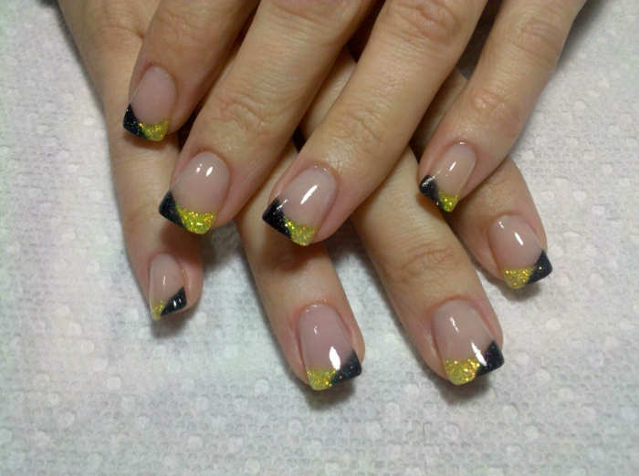 nail design black yellow combine beauty tips