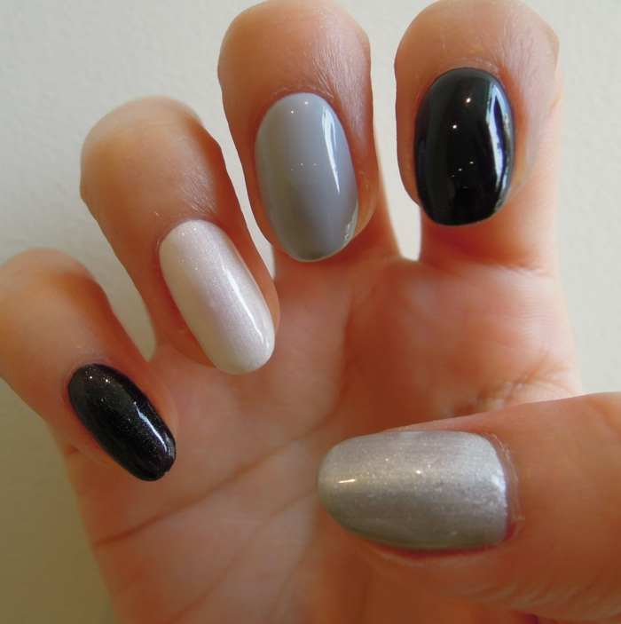 nail design black gray shades color combination ideas